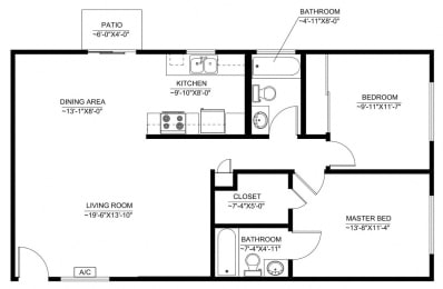 Floor Plan 2 BEDROOM 920 SQUARE FEET