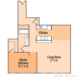 1 Bed 1 Bath Floor Plan at Harness Factory Lofts, Managed by Buckingham Urban Living, Indiana, 46204