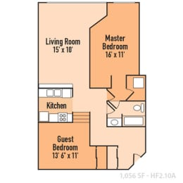 2 Bedroom 1 Bathroom Floor Plan at Harness Factory Lofts, Managed by Buckingham Urban Living, Indianapolis, IN