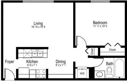 Floor Plan One Bedroom One Bath Small
