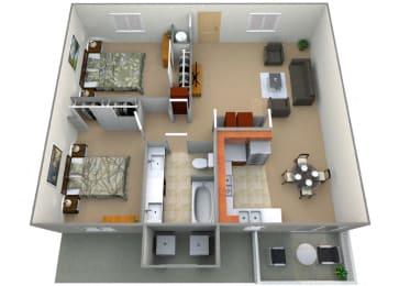Manchester Floor Plan at Oxford Park Apartments, Fresno