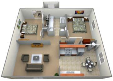 Newbury Floor Plan at Oxford Park Apartments, Fresno, California