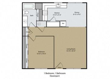 Davenport Floor Plan at Scottsmen Apartments, Clovis, California