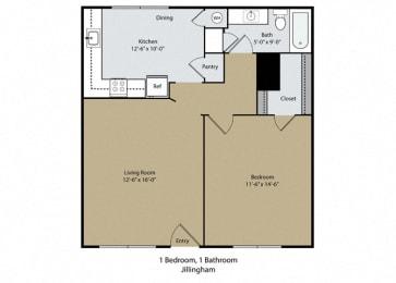 Jillingham Floor Plan at Scottsmen Apartments, Clovis, 93612