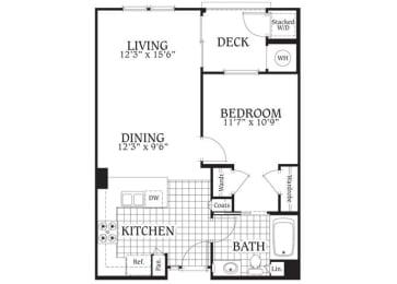 Aspen – 1 Bedroom 1 Bath Floor Plan Layout – 692 Square Feet