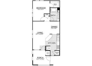 Birch – 1 Bedroom 1 Bath Floor Plan Layout – 801 Square Feet
