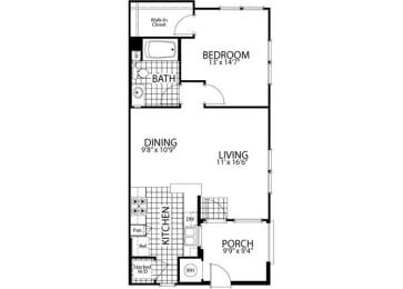 Cedar – 1 Bedroom 1 Bath Floor Plan Layout – 753 Square Feet