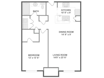 Floor plan at The Mil Ton Luxury Apartments, Vernon Hills, Illinois
