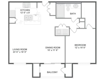 Floor plan at The Mil Ton Luxury Apartments, Vernon Hills