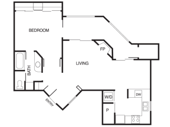 A3 1 Bed 1 Bath Floor Plan at Country Brook Apartments, 85226, AZ