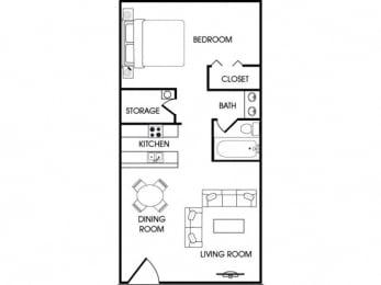 Floor Plan  1 bedroom 2 bathroom floor plan at aspen leaf apartments in flagstaff az