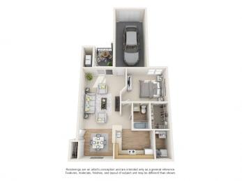 Holly Floor Plan 1 bed 1 bath Floor Plan at Owings Park Apartments, Owings Mills, MD, 21117