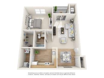 Sycamore Floor Plan 1 bed 1 bath Floor Plan at Owings Park Apartments, Owings Mills, MD