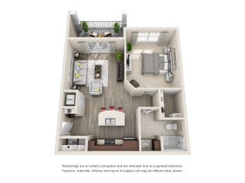 A1 Unit 1BR Floor Plan for Vintage Blackman Apartments in Murfeesboro, Tennessee