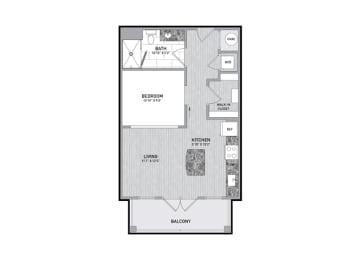 Floor Plan  Studio Floor Plan at The Flats at Ballantyne Apartments, Charlotte, NC
