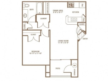 1 Bed 1 Bath Floor Plan at The Preserve at Greenway Park, Casper, WY, 82609