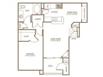 1 Bedroom 1 Bath Floor Plan at The Preserve at Greenway Park, Casper, WY