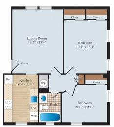 2 Bed 1 Bath B01 Floor Plan at Myerton, Arlington, 22204