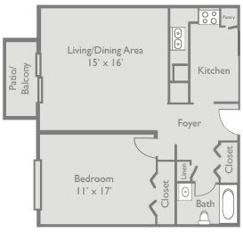 Floor Plan  1 Bed 1 Bath A1 Floor Plan at Axis at Westmont, Illinois, 60059