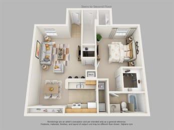 1Bedroom, 1Bath Floor Plan