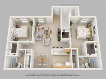 2Bedroom, 2Bath Floor Plan