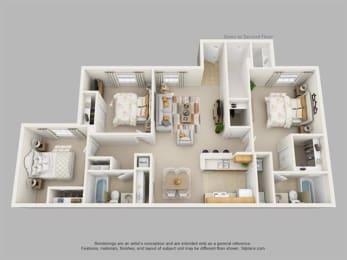 3Bedroom, 2Bath Floor Plan