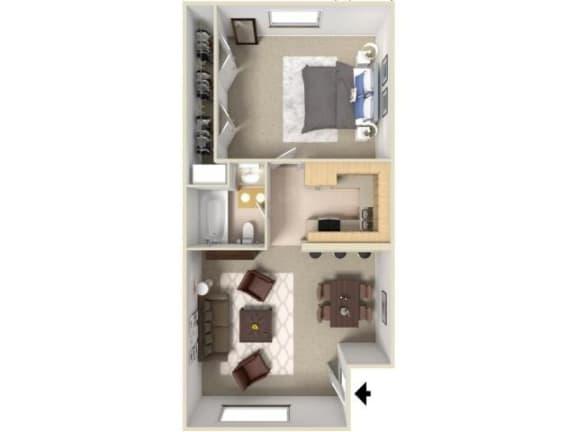 Floor Plan  1 Bed one bath floor plan at Green Oaks Apartments, Florida