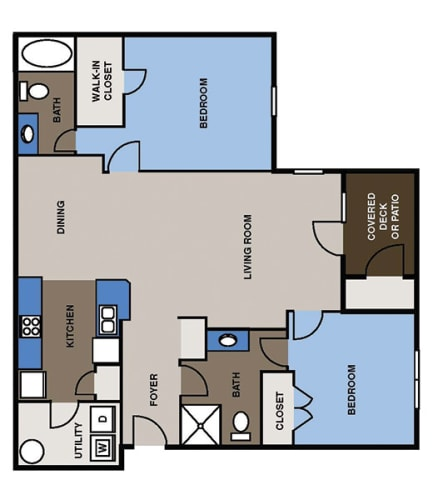 Floor Plan  Two Bed, Two Bath