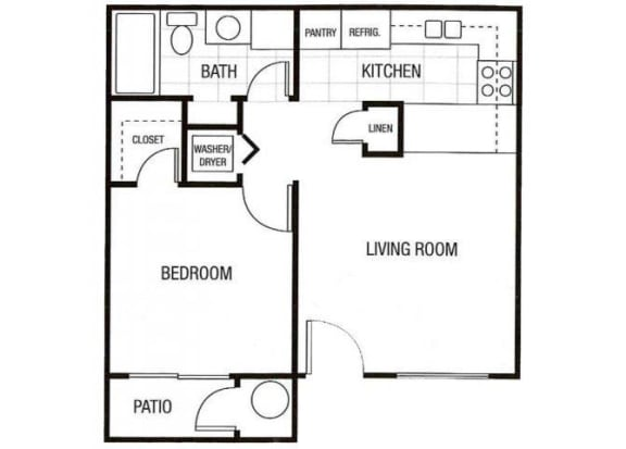 Floor Plan  1 bedroom 1 bathroom at Sunset Landing Apartments in Glendale, AZ