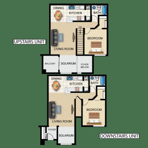 Floor Plan  1 bedroom 1 bathroom floor plan at Rock Ridge in Oro Valley, AZ