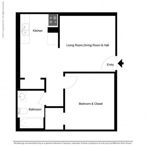Floor Plan  1x1 466 square foot floor plan at Williams at Gateway in Gilbert AZ