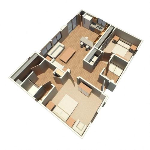 Floor Plan  2 bedroom 2 bathroom floor plan at Sabino Vista Apartment Homes in Tucson AZ