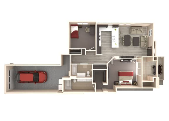 Floor Plan  Santorini 2 bedroom 2 bathroom At Bella Victoria Apartments In Mesa, AZ