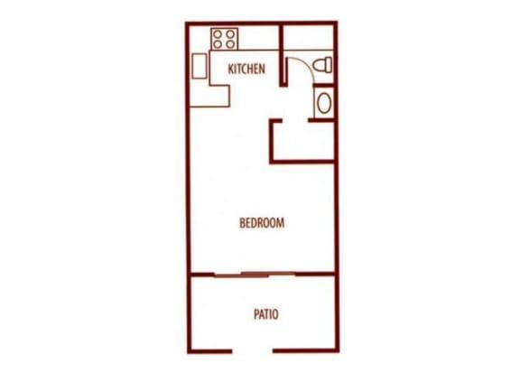 Floor Plan  Studio floor plan at SunVilla Resort Apartments in Mesa, AZ