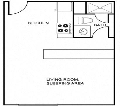 Floor Plan  Studio floor plan image at Regency Apartments in Tempe AZ
