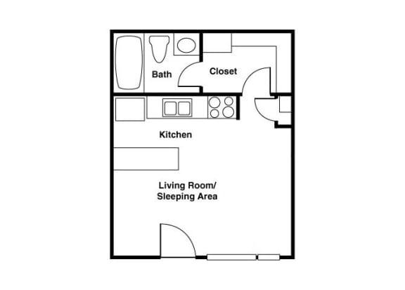 Floor Plan  Unfurnished Studio floor plan at Shorebird Apartments in Mesa, AZ