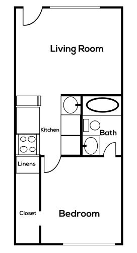 Floor Plan  1 bedroom 1 bathroom at Zona Village in Tucson Arizona