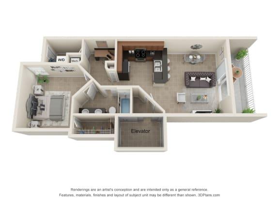 Floor Plan  Alessi 1 Bedroom Floor Plan