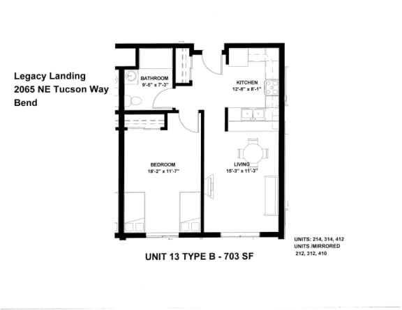 Floor Plan  Legacy Landing 1 bedroom
