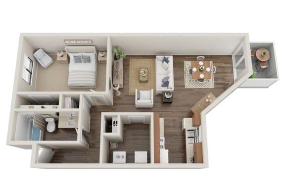 Floor Plan  1x1 - Cedar
