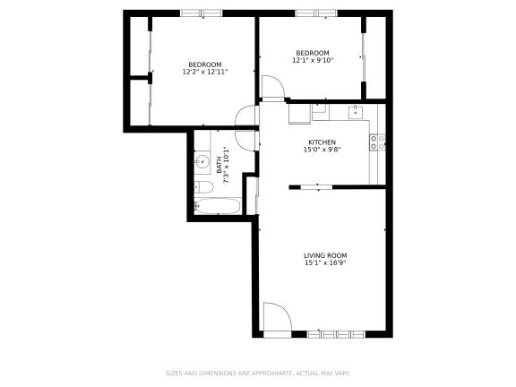 Floor Plan  Olympic Park | Two Bedroom/One Bathroom 880 Square Feet
