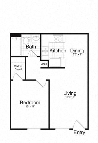 Floor Plan  1 bed rendering