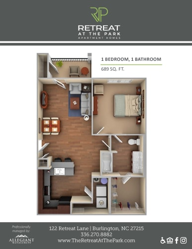 Floor Plan  1-bedroom/1-bathroom A 3D floor plan layout with 689 square feet at Retreat at the Park apartments for rent in