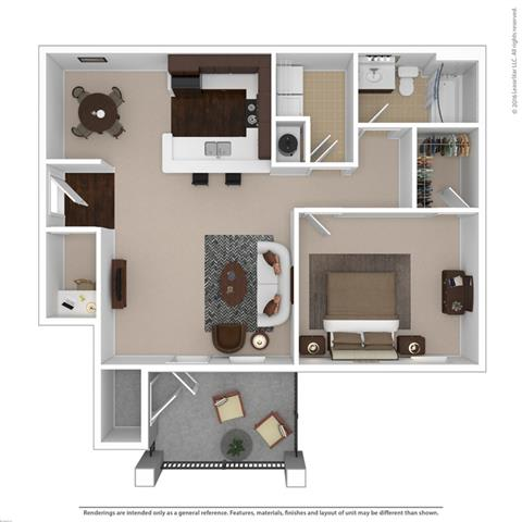 Floor Plan  Amethyst 1-bedroom/1-bathroom furnished floor plan with 850 square feet at Riverstone apartments for rent in Macon, GA