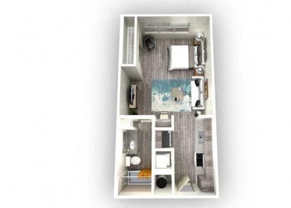 Floor Plan  1-bedroom/1-bathroom floor plan layout of 488 square feet of space at EOS Orlando apartments for rent