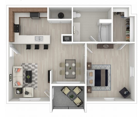 Floor Plan  One-bedroom/one-bathroom floor plan layout with 792 square feet at Reagan Crossing apartments for rent in Covington, LA