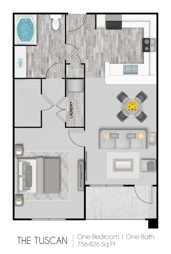 Floor Plan  The Tuscan floor plan for a 1 bedroom, 1 bathroom 756-826 square feet Crescent Commons in Fayetteville, NC