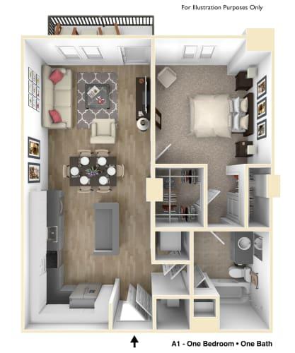Floor Plan  Ventura Pointe Apartments in Pembroke Pines 1 bedroom 1 bathroom floor plan