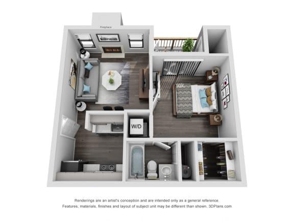 Floor Plan  Avisa Lakes Ashland 1 bedroom apartment for rent