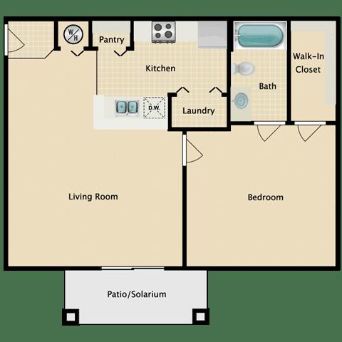 Floor Plan  1 Bedroom With Patio